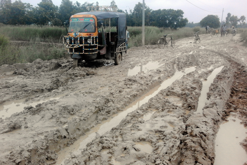 A view of the road condition along the Mahottari-Jaleshwor road section, as captured on Thursday, July 7, 2017. Photo: RSS