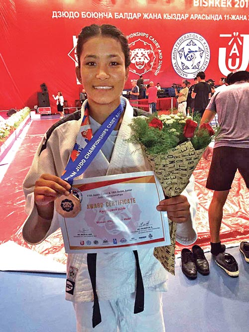 Manita Shrestha Pradhan won bronze medal in the womenu2019s below-57kg weight category in the 11th Asian Cadet and 18th Juniors Asian Judo Championships in Bishkek, Kyrgyzstan on Saturday.