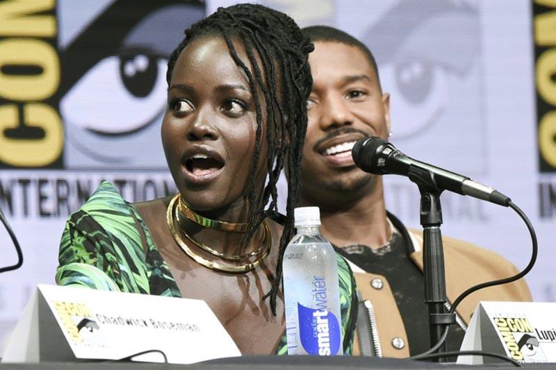 Lupita Nyongu2019o, (left), and Michael B. Jordan attend the u201cMarvelu201d panel on day 3 of Comic-Con International on Saturday, July 22, 2017, in San Diego. Photo: AP