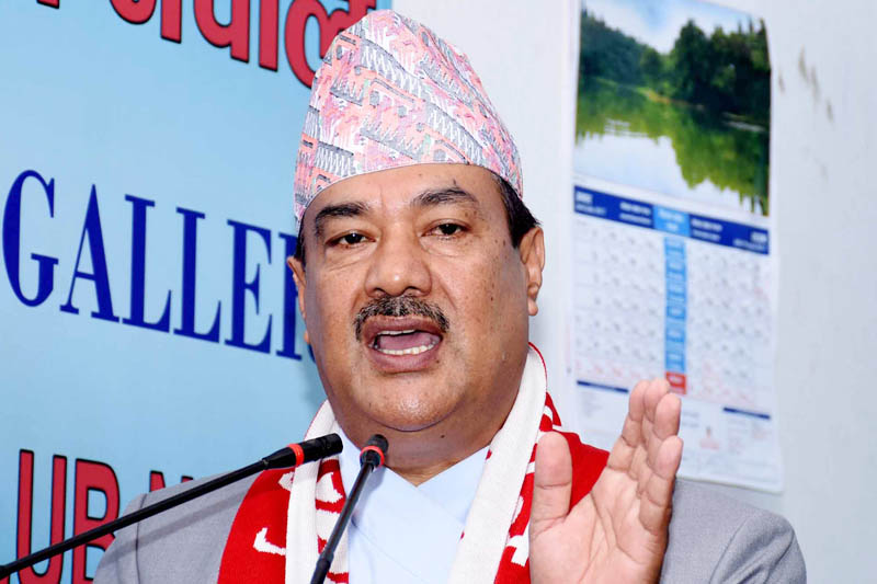 Minister for Commerce Min Biswakarma speaks at a programme in Kathmandu, on Sunday, July 30, 2017. Courtesy: Reporters Club