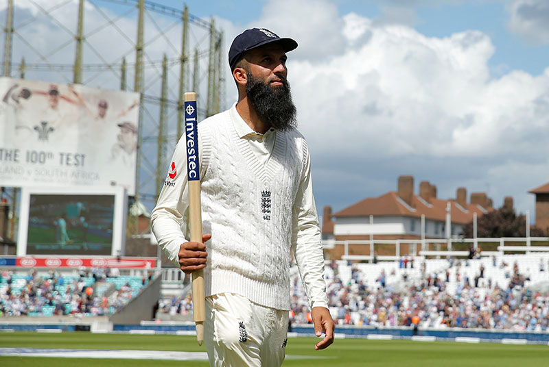 England's Moeen Ali celebrates after the match. Photo: Reuters