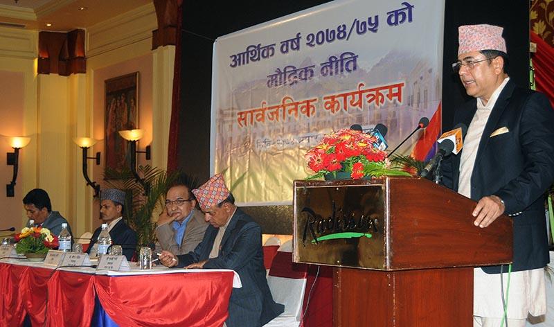 Nepal Rastra Bank Governor Chiranjibi Nepal introducing Monetary Policy 2017-18, in Kathmandu, on Sunday, July 9, 2017. Photo: Balkrishna Thapa Chhetri/THT