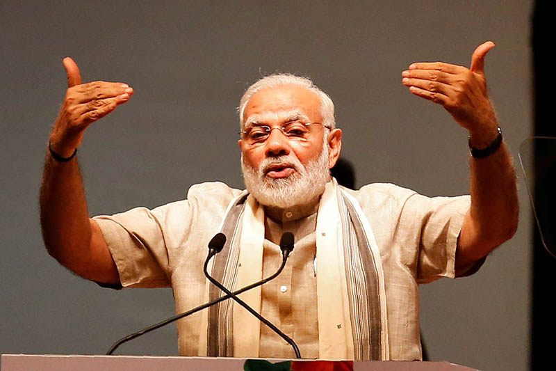 India's Prime Minister Narendra Modi addresses a gathering during the inauguration of Textiles India 2017 trade exhibition in Gandhinagar, Gujarat, India June 30, 2017. Photo: Reuters