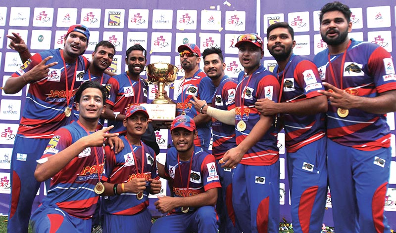 Nepal Storm players celebrate with the ACPL trophy at the TU Stadium in Kathmandu, on Tuesday. Photo: Udipt Singh Chhetry / THT