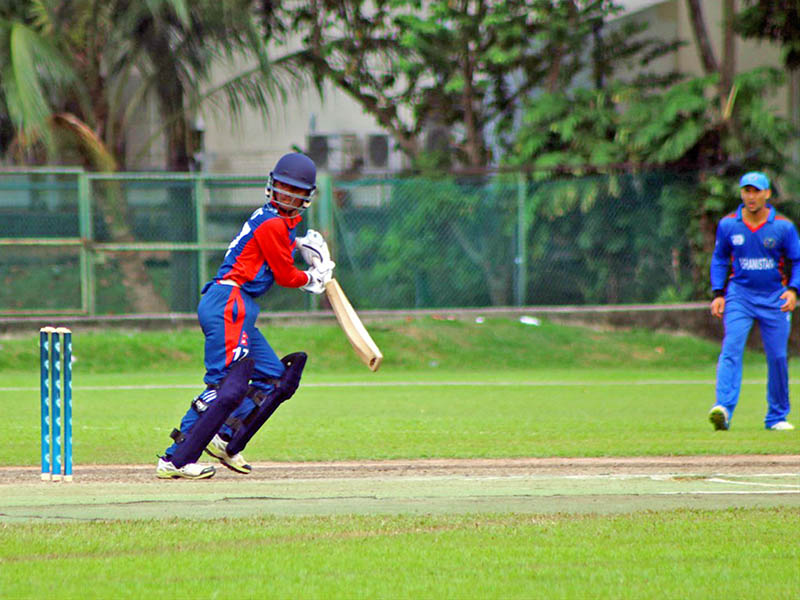 Nepali batsman looks after playing a shot to a third man area against Afghanistan during ICC Asia U-19s World Cup qualifier in Singapore, on Tuesday, July 25, 2017. Photo: RSS