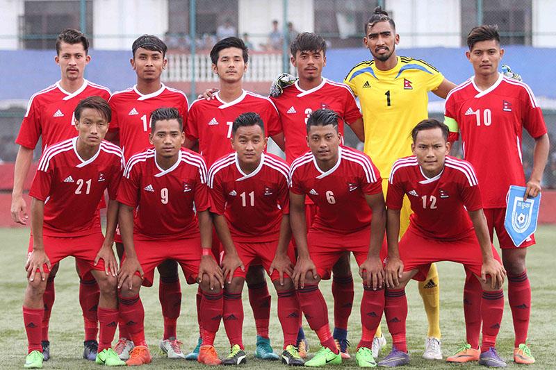 Nepal's U-23 team pose for a portrait before their International friendly match against Banglandesh U-23. Photo: Udipt Singh Chhetry