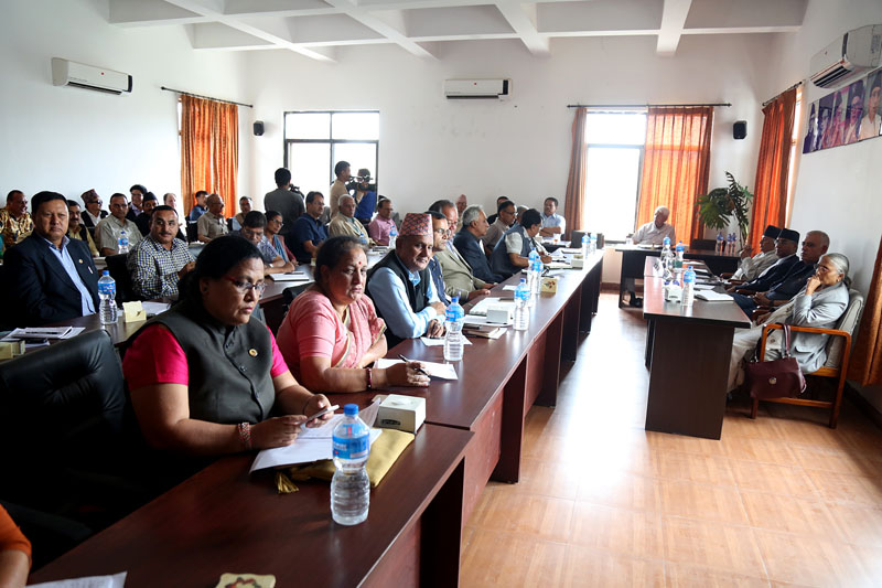 Nepali Congress leaders participating in the party's Central Working Committee meeting at the central office in Sanepa, Lalitpur, on Saturday, July 22, 2017. Photo: RSS