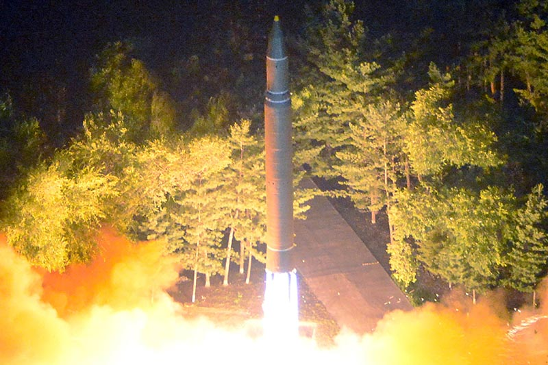 Intercontinental ballistic missile (ICBM) Hwasong-14 is pictured during its second test-fire in this undated picture provided by KCNA in Pyongyang, on July 29, 2017. Photo: KCNA via Reuters