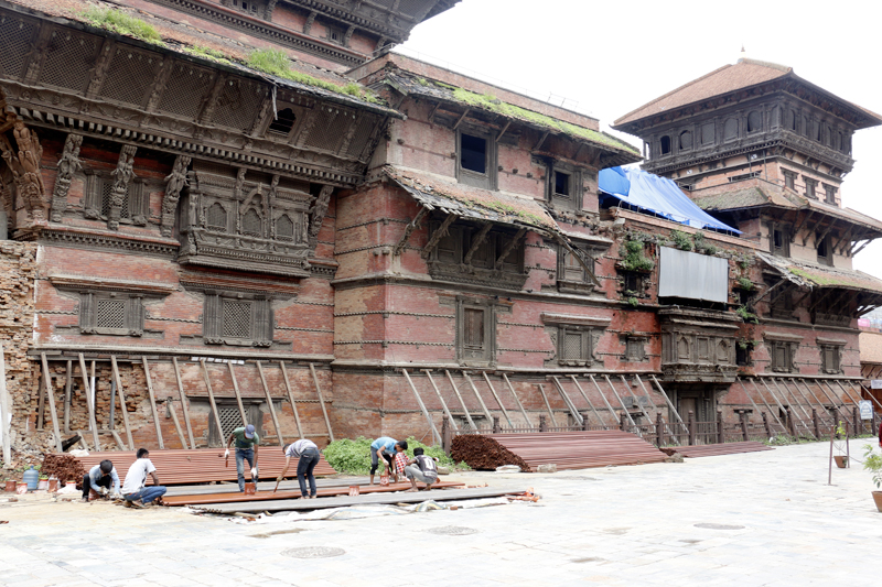 Labourers work at the reconstruction site in the Patan Durbar Square, in Lalitpur, on Sunday, July 30, 2017. Photo: RSS
