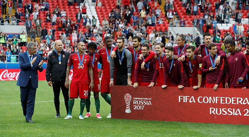 Portugal celebrate after the game. Photo: Reuters