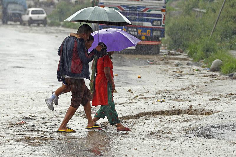 Pedestrians use umbrellas to sheild themselves from rain as they walk along the road in Kathmandu. Photo: Skanda Gautam