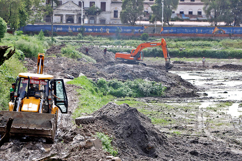 Bull dozer and excavator being used for reconstruction of Rani Pokhari in Kathmandu, on Tuesday, July 25, 2017. Photo: RSS