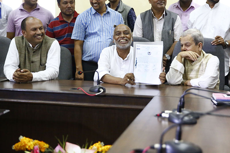Senior leaders of Rastriya Janata Party-Nepal at the Election Commission to register their party with the poll panel, in Kathmandu, on Friday July 7, 2017. Photo: Skanda Gautam/ THT