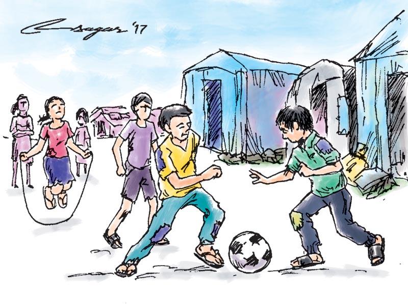 Refugee children playing, Illustration: Ratna Sagar Shrestha/THT