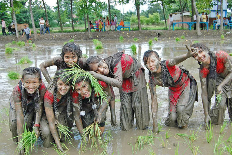 Students pose for a portrait as they plant rice sapling in a paddy field in Jhapa district, on Sunday, July 16, 2017. Photo: RSS