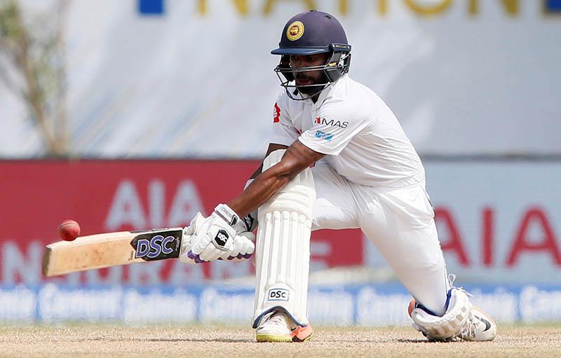 Sri Lanka's Niroshan Dickwella plays a shot. Photo: Reuters