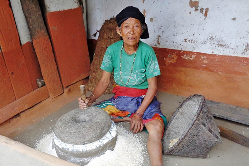 An elderly woman grinds maize in a traditional stone grinder in Ilam district, on Wednesday, July 19, 2017. Photo: RSS