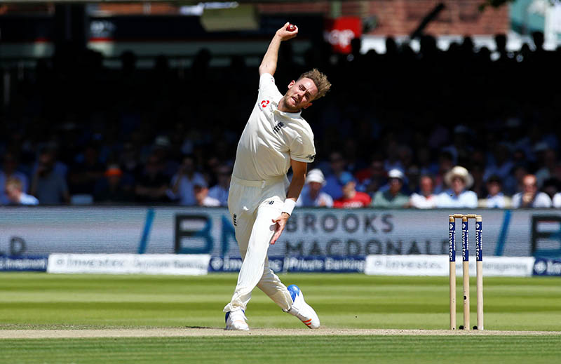 England's Stuart Broad in action. Photo: Reuters