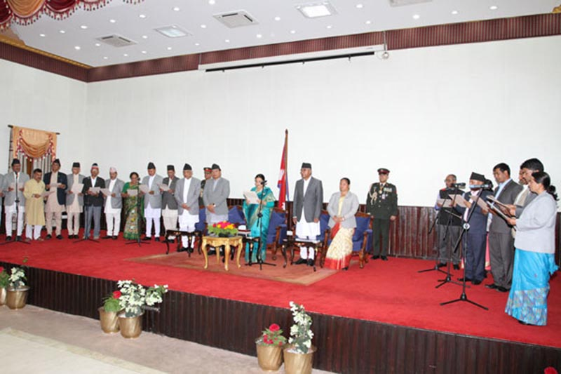 President Bidya Devi Bhandari administering the oath of office ansd secrecy to newly appointed ministers in Sitalniwas on Wednesday, July 26, 2017. Photo: RSS