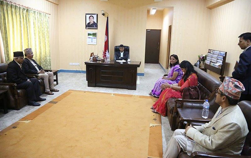 Office bearers of Truth and Reconciliation Commission led by its chairperson Surya Kiran Gurung meeting Prime Minister Sher Bahadur Deuba at his office at Singhadurbar on July 12, 2017. Photo: RSS