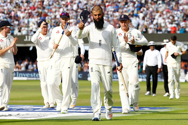 England's Moeen Ali walks off at the end of the match between England and South Africa, in First Test, in London, Britain, on July 9, 2017. Photo: Action Images via Reuters