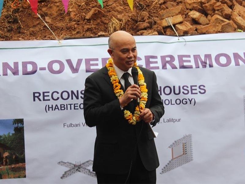 File - Thai Ambassador to Nepal Bhakavat Tanskul address the handover ceremony of Baan Promjai to Nepali earthquake victims, Phulbari Village, Patan, Lalitpur district, on Wednesday, 29 March, 2017. Photo: Royal Thai Embassy, Kathmandu