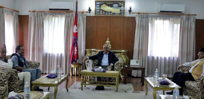 Prime Minister Sher Bahadur Deuba(C), CPN Maoist Centre Chair Pushpa Kamal Dahal (R) and RPP leaders Kamal Thapa and Pashupati Shamsher Rana attend a meeting in Baluwatar, on Saturday, July 8, 2017. Photo: Dahal's Secretariat