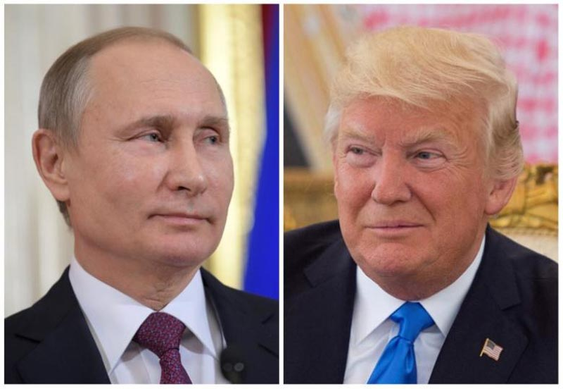 Russian President Vladimir Putin attends a news conference at the Kremlin in Moscow, Russia, on January 17, 2017 and US President Donald Trump seen at a reception ceremony in Riyadh, Saudi Arabia, on May 20, 2017. Photo: Reuters