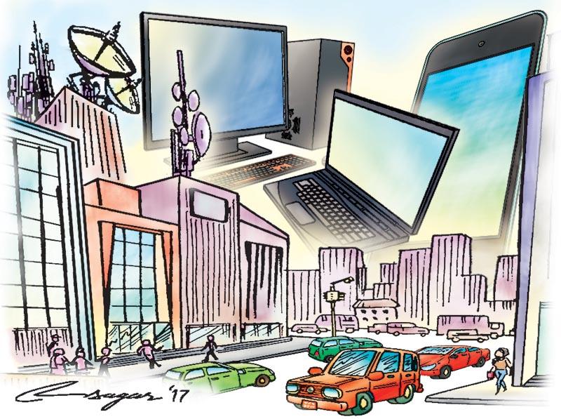 Digitalisation and urbanisation  . Illustration: Ratna Sagar Shrestha/THT