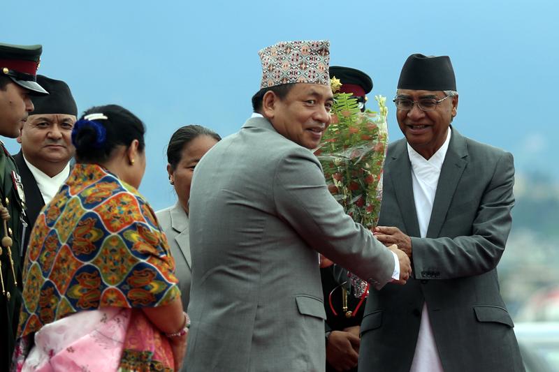 Prime Minister Sher Bahadur Deuba sees off Vice President Nanda Bahadur Pun before the China visit, at the Tribhuvan International Airport, on Tuesday, June 4, 2017. Photo: RSS