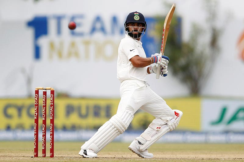 India's captain Virat Kohli in action in a First Test match between Sri Lanka and India, in Galle, Sri Lanka, on July 29, 2017. Photo: Reutres