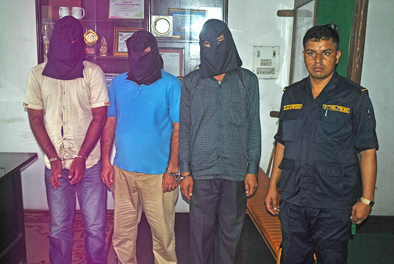 The alleged rapists being made public at the Parsa District Police Office in Birgunj on Tuesday, July 11, 2017. Photo: Ram Sarraf