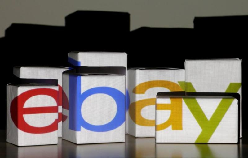 An eBay logo is projected onto white boxes in this illustration picture taken in Warsaw, on January 21, 2014. Photo: Reuters/ File