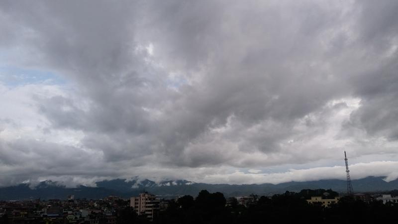 Monsoon clouds hover over Kathmandu sky, as seen from Anamnagar, Kathmandu, on Tuesday, July 4, 2017. Photo: Monica Lohani