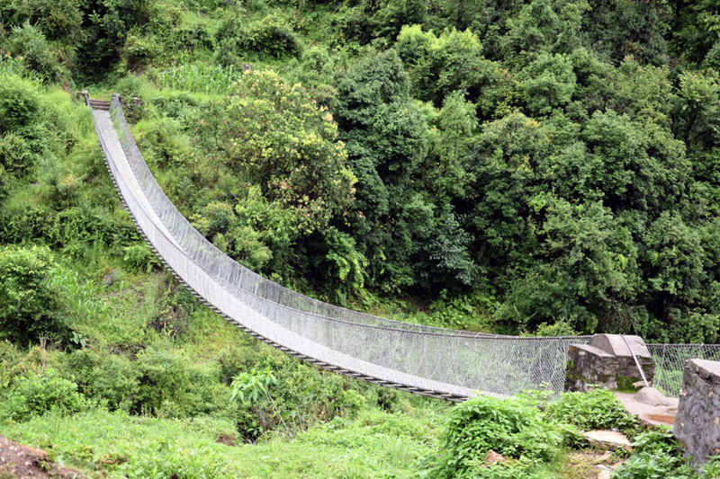 A view of a suspension bridge in Rolpa, as captured on Saturday, July 22, 2017. Photo: RSS