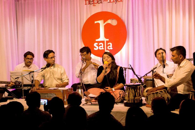 Meena Niraula (R) and Aavaas perform at Paleti session in Kathmandu, on Friday, August 26, 2017. Photo: Nepalaya