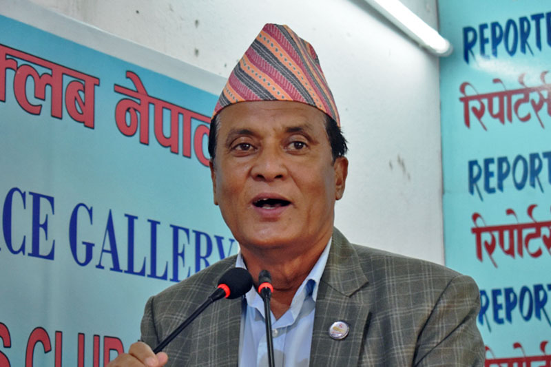 Minister for Law, Justice and Parliamentary Affairs Agaya Bahadur Thapa speaking at an interaction programme in Kathmandu, on Thursday, August 31, 2017. Courtesy: Reporters Club