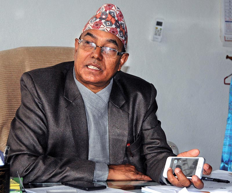 Interview with Agriculture Secretary Suroj Pokhrel at the Ministry of Agricultural Development on Sunday. Photo: Balkrishna Thapa Chhetri