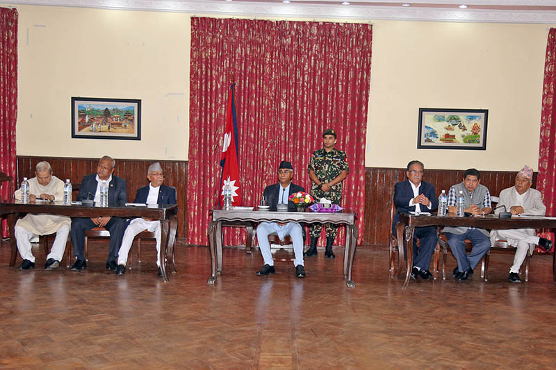 Prime Minister Sher Bahadur Deuba among other leaders attend all-party meeting in Baluwatar, Kathmandu, on Wednesday, August 16, 2017. Photo: RSS