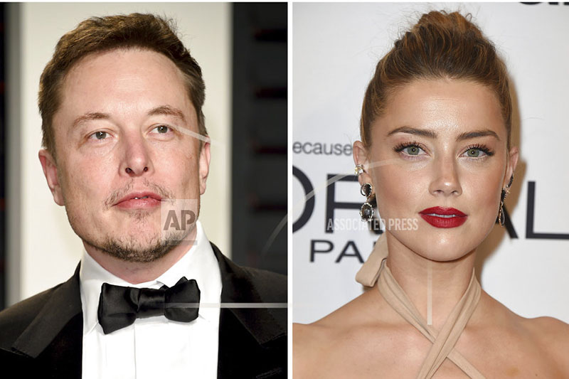 This combination photo shows Elon Musk at the Vanity Fair Oscar Party on Feb. 26, 2017, in Beverly Hills, Calif., left, and actress Amber Heard at the Glamour Women of the Year Awards on Nov. 14, 2016, in Los Angeles. Photo: AP