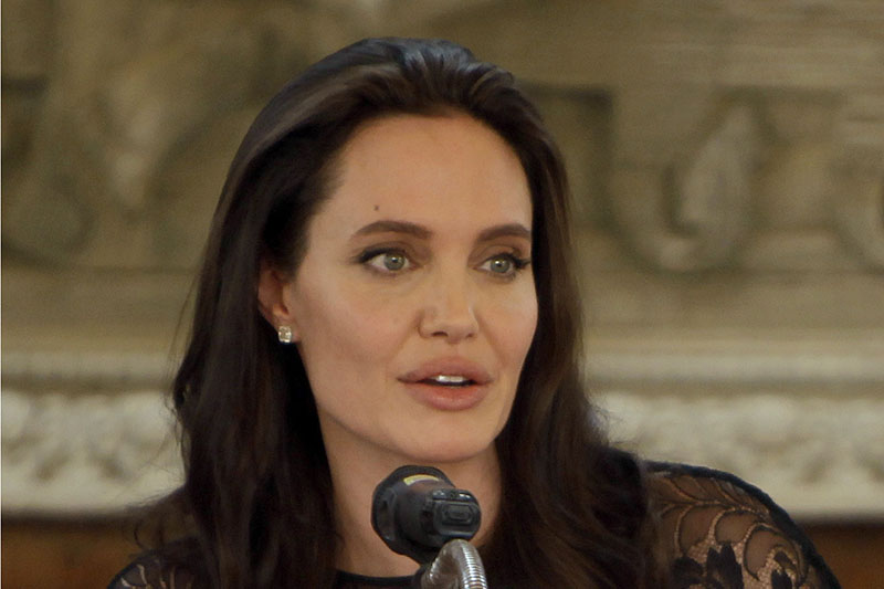 FILE - In a Feb. 18, 2017 file photo, actress Angelina Jolie gives a press conference in Siem Reap province, Cambodia.  Photo: AP