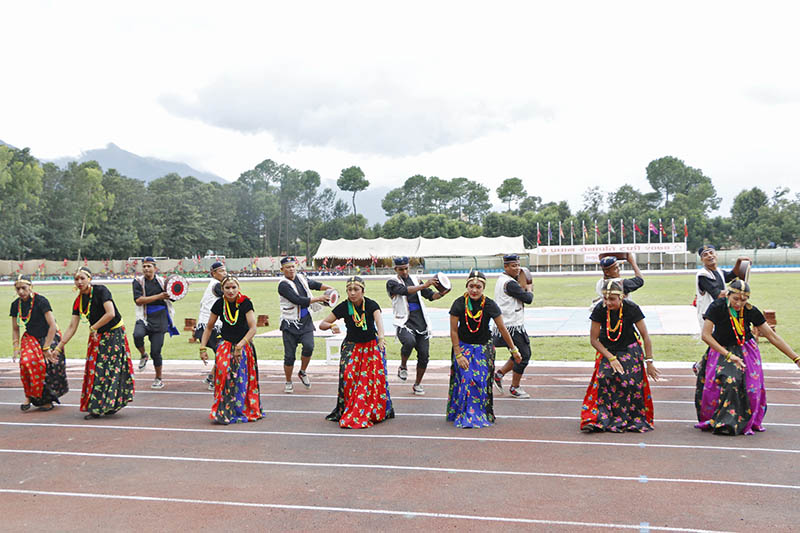 Artists clad in traditional attires performing dance during the Army chief trophy in Kathmandu, on Friday, August 18, 2017. Photo: RSS