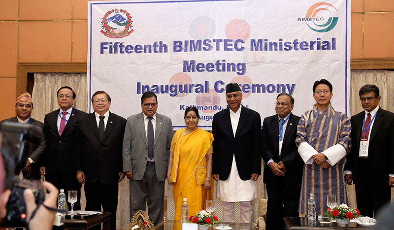 Nepal's Prime Minister Sher Bahadur along with other BIMSTEC members foreign ministers pose for a portrait during 15th BIMSTEC Ministerial meeting in Kathmandu, on Thursday, August 10, 2017. Photo: RSS