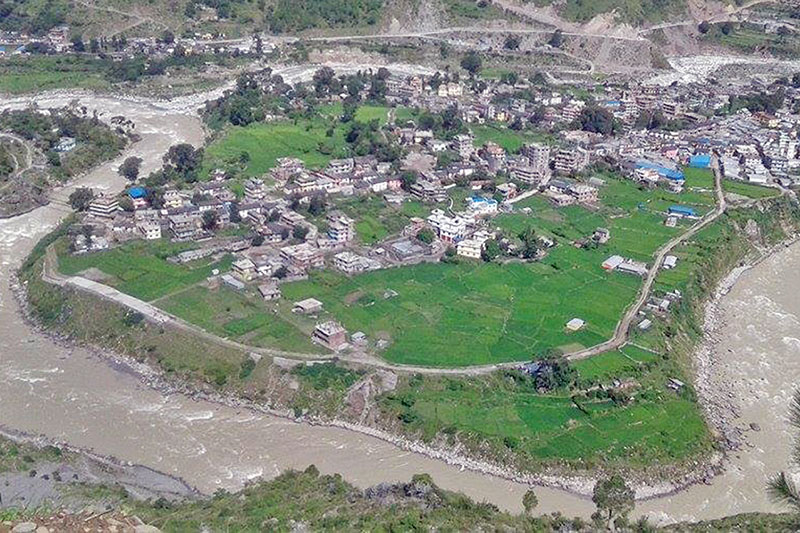 An arial view of Chainpur, district headquarters of Bajhang district, on Thursday, August 17, 2017. Photo: RSS