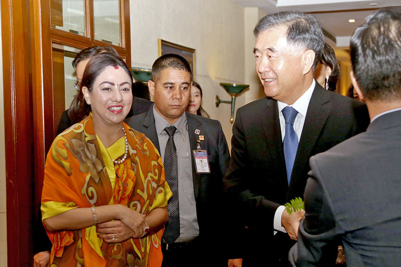 FNCCI President Bhawani Rana share light moment with visiting Chinese Vice Premier Wang Yang in Kathmandu, on Wednesday, August 16, 2017. Photo: RSS
