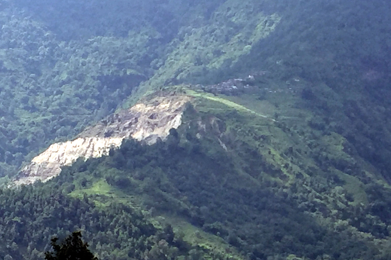 A view of the landslide occured in Bhoje village in Lamjung district, on Monday, August 7, 2017. Photo: Ramji Rana