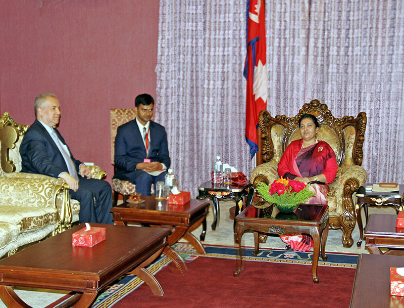 Egyptian Ambassador to Nepal Baher Nabl Abdelfattah Helmy (left) meets President Bidya Devi Bhandari at Sheetal Niwas in Kathmandu, on Wednesday, August 30, 2017. Courtesy: President' Office