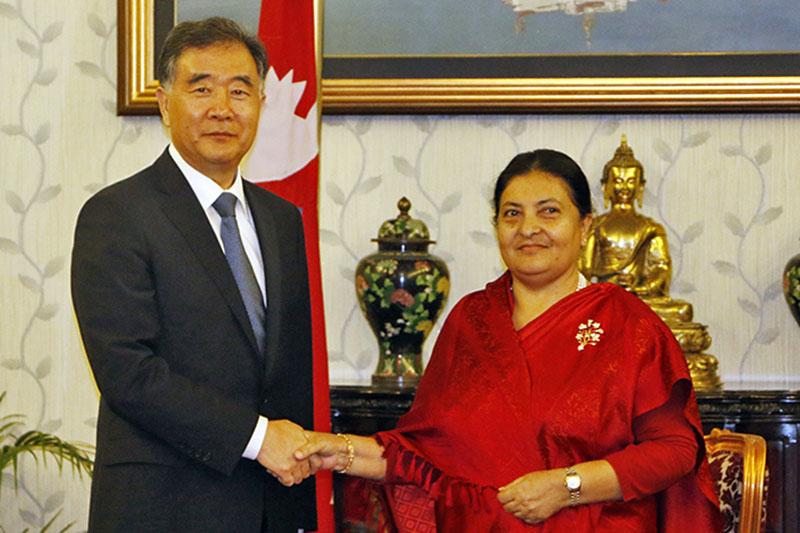 Visiting Chinese Vice Premier Wang Yang calls on President Bidya Devi Bhandari at latter's office in Sheetal Niwas, Kathmandu, on Wednesday, August 16, 2017. Photo: RSS