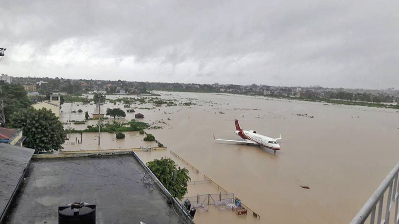 A lone plane is seen at the Biratnagar Airport which was inundated by flash flood in the area, as captured on Tuesday, August 15, 2017. Photo: THT