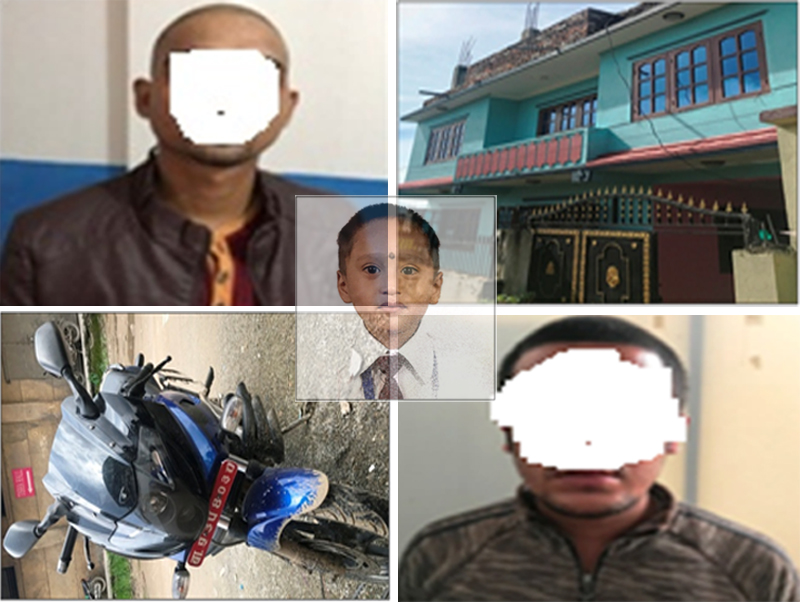 FROM TOP LEFT: Kidnapper Raju BK; the house in Gotthatar where Chaudhay was kept; the motorcycle used in kidnapping; and another abductor Bishnu Pandey. Photo: MCD/THT Online